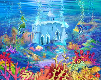神秘和幻想的海底世界。水下的城堡