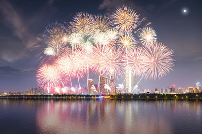 湖南长沙著名5A级旅游风景区湘江橘子洲公园盛大烟花燃放表演全景