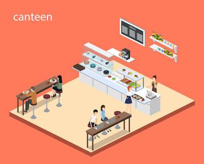 等距3d 矢量插图咖啡或食堂的概念与访客