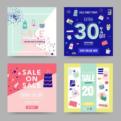 销售横幅模板。折扣海报, 促销网页设计。宣传海报, 传单, 广告的时尚背景。矢量插图